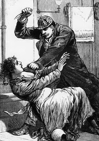 Illustration Depicting Jack the Ripper Attacking a Woman